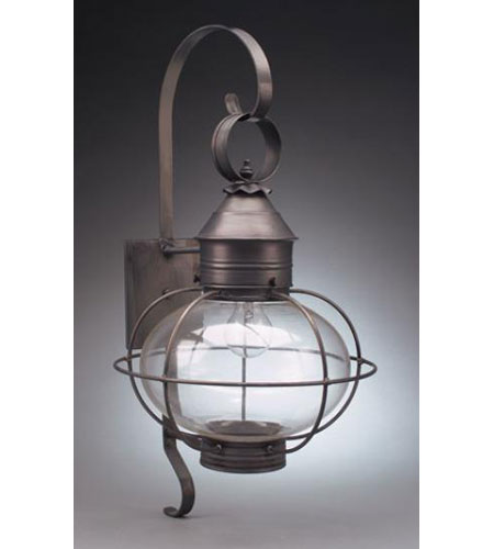 Northeast Lantern  Caged Onion Wall Dark Brass Medium Base Socket Clear Glass Extended Scroll 2541-DB-MED-CLR-EXT photo